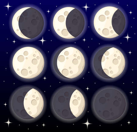 Set of different moon phases space object natural satellite of the earth vector illustration isolated on style background web site page and mobile app design