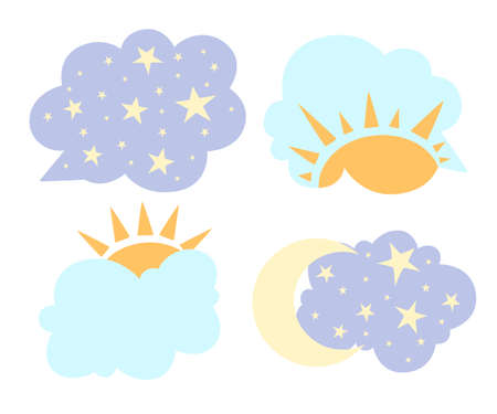 Change of day and night concept in cartoon style sun and moon in sky vector illustration isolated on white background web site page and mobile app design.