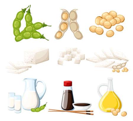 Zestaw produktów sojowych mleko i olej w szklanym dzbanku sos sojowy w przezroczystej butelce tofu i fasoli organiczne wegetariańskie jedzenie wektor ilustracja na białym tle na białym tle strony internetowej i aplikacji mobilnej.