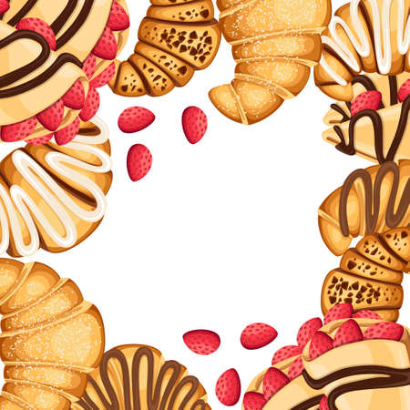 Croissant and pancakes with different fillings pattern illustration. Illustration