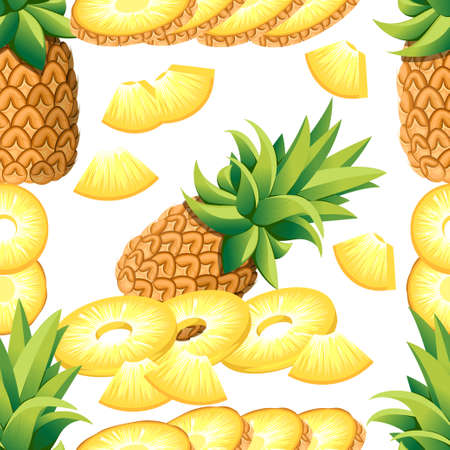 Pattern of pineapple of banana and slices of pineapples. Illustration