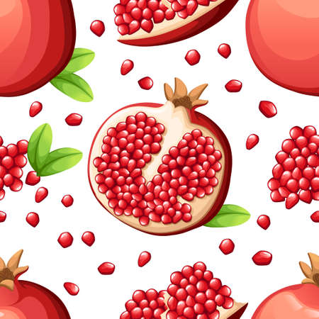 A Seamless pattern of pomegranate and fresh seeds of pomegranates Vector illustration of opened pomegranate.
