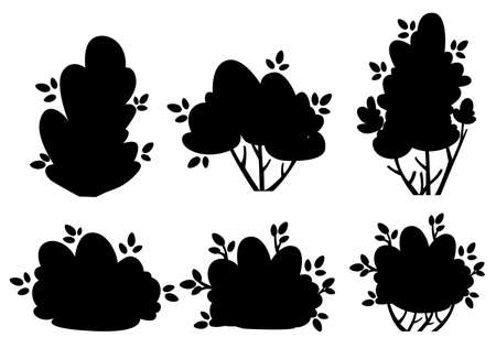 Set of silhouettes bush and garden trees for park cottage and yard vector illustration isolated on white background website page and mobile app design Ilustrace