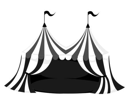 Silhouette of circus or carnival tent with flags and red floor vector illustration on white background web site page and mobile app design Illustration