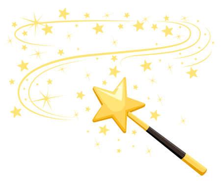 Decorative magic wand with a magic trace with Star shape magic accessory. Illustration