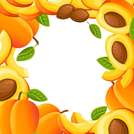 Pattern of peach and slices of peaches Vector illustration with empty space for decorative poster.