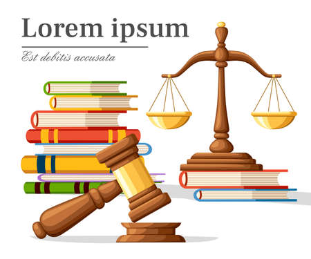 Legal law and auction symbol illustration image