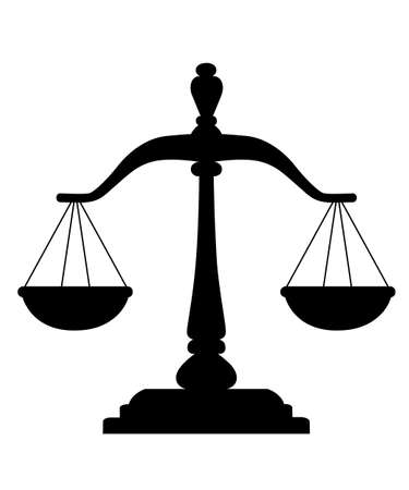 Black silhouette of Scales of Justice image design