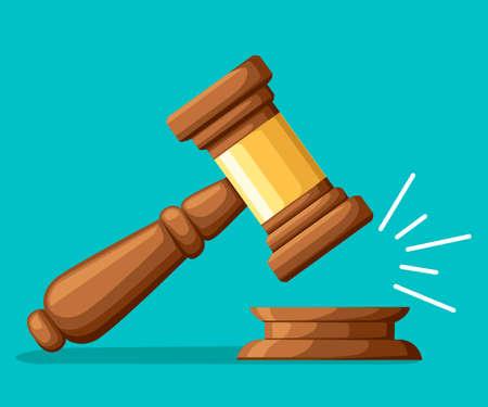 Judge wood hammer illustration image Ilustração