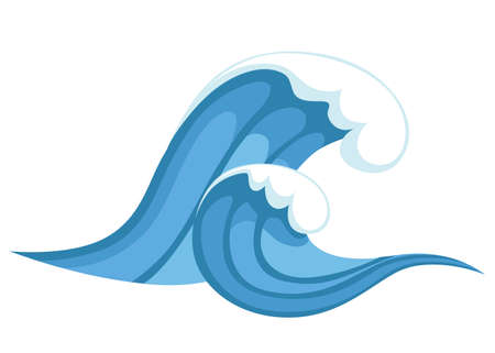 Big blue sea wave in cartoon style. Vector illustration isolated on white background. Illustration
