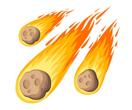 Flame meteorite. Meteor rain fall on planet in cartoon style. Cataclysm color icon. Vector illustration, isolated on white background. Web site page and mobile app design.