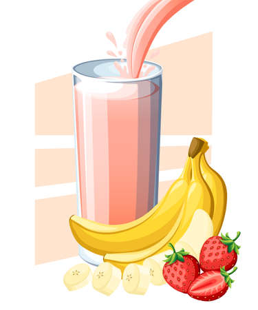 Strawberry banana juice. Fresh fruit and berry juice in glass. Juice flow and splash in full glass. Vector illustration isolated on white background. Web site page and mobile app design. Illustration