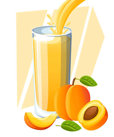 Fresh fruit drink illustration with fresh peaches Illustration