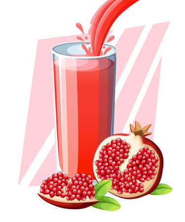 Fresh fruit drink illustration with fresh pomegranate