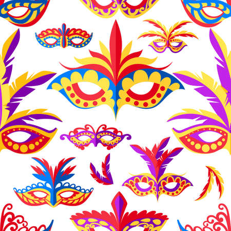 A Seamless pattern of carnival face masks. Masks for party decoration or masquerade. Colored mask with feathers Vector illustration on white background.