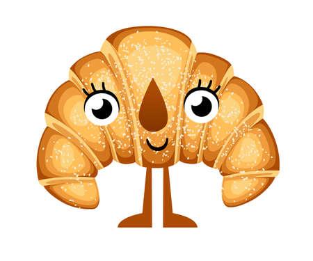 Personnage de dessin animé mignon croissant de mascotte de croissant. Icône de visage émoticône pâtisserie boulangerie positive et sympathique drôle. Sourire heureux dessin animé visage alimentaire Vector illustration isolé sur fond blanc. Vecteurs