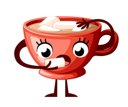 Cute coffee cup character design. Cartoon style cup eat marshmallow. Mascot red cup Vector illustration isolated on white background.