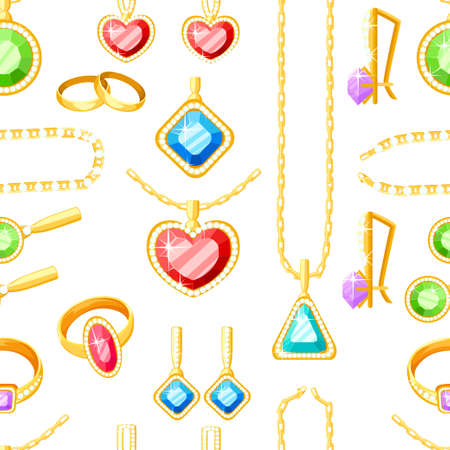 Set of golden jewelry. Golden rings, earrings, chains, and necklaces collections. Cartoon jewelry accessories Vector illustration isolated on white background.