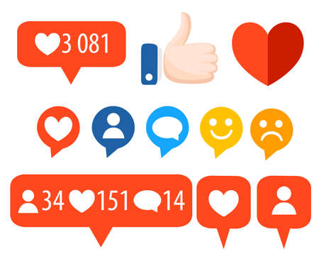Get more likes on Color icons.  Design elements for social network,marketing Vector illustration isolated on white background.