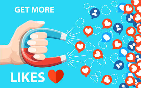Get more likes and Hand hold horseshoe magnet pulling or get many likes. A  Vector illustration isolated on blue background.