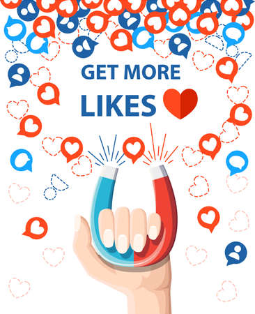 Get more likes and Hand hold horseshoe magnet pulling or get many likes Vector illustration isolated on white background.