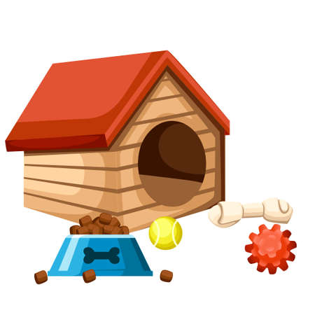 Dog house and bowl with food. Playing balls and bone Vector illustration isolated on white background.