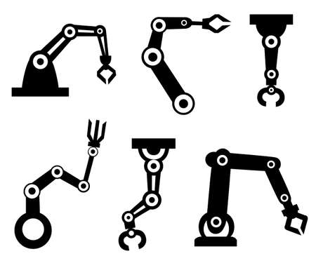 Black silhouettes. Set of robotic arms. Robotic arm manufacture. Cartoon style icon. Vector illustration isolated on white background. Illustration
