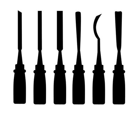 Black silhouettes. Set of different chisels. Vector illustration isolated on white background. Web site page and mobile app design.