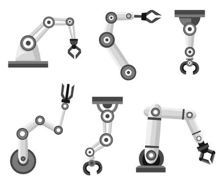 Set of robotic arms. Robotic arm manufacture. Cartoon style icon. Vector illustration isolated on white background.
