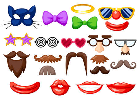 Set of fun masks. Party Birthday photo booth props. Mustache, spectacles, bow tie and mouths in cartoon style. Vector illustration isolated on white background.