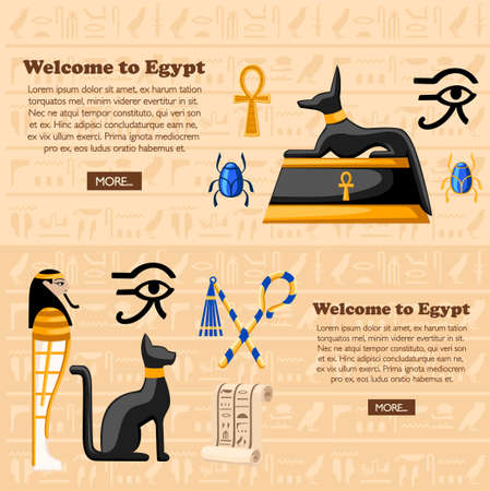 Travel concept. Welcome to Egypt poster. Ancient Egyptian symbols and decoration Egypt flat icons vector illustration on hieroglyphs texture background. Web site page and mobile app design. Иллюстрация