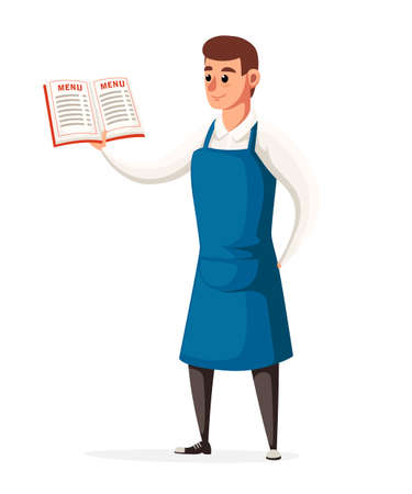 Waiter keeps the restaurant menu. Waiter with blue apron. Cartoon style character design. Vector illustration isolated on white background website page and mobile app design.