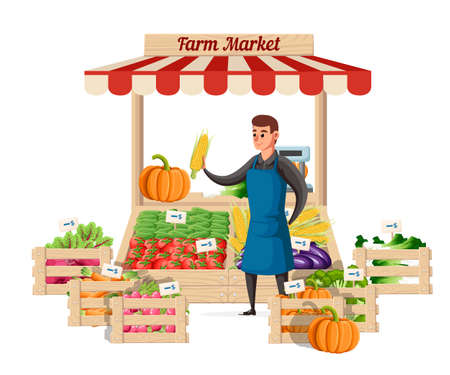 Farmer vegetable seller at the counter organic food farm. Street seller with stall with vegetable. Vector illustration isolated on white background. Website page and mobile app design.