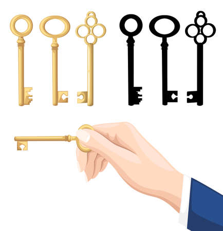 Businessman hand holding key. Golden and black keys on background. Vector illustration isolated on white background. Website page and mobile app design. Archivio Fotografico - 102077766