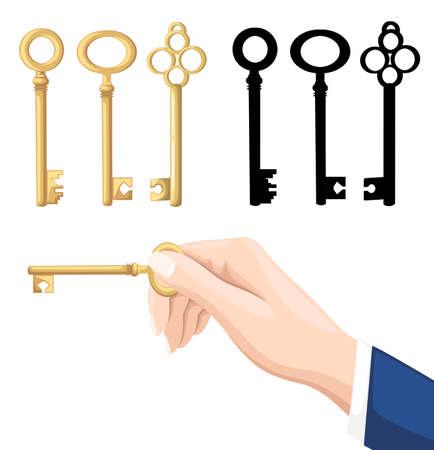 Mano de empresario sosteniendo la llave. Llaves doradas y negras sobre fondo. Ilustración de vector aislado sobre fondo blanco. Diseño de página web y aplicación móvil.