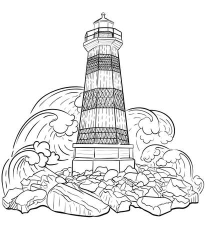 Hand drawn artistically ethnic ornamental patterned Lighthouse, tribal style for adult coloring book, pages, tattoo, t-shirt or prints. Sea vector illustration.