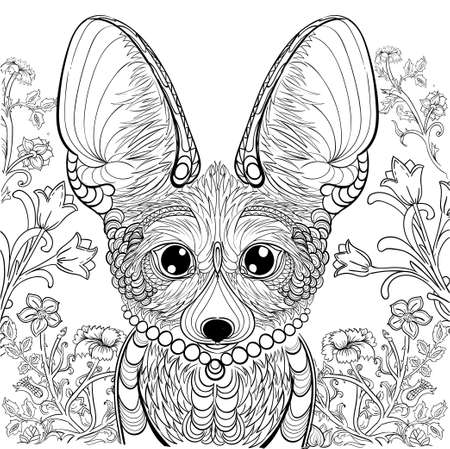 Fox fennec and floral elements for coloring book. Anti-stress coloring for adult tattoo stencil. Black and white lines lace pattern vector illustration on white background.