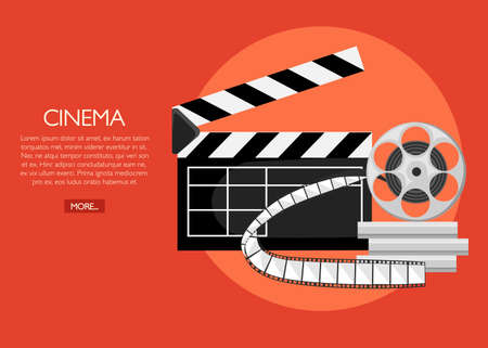 Retro movie clapboard poster Cartoon vector illustration Clapper with film reels.