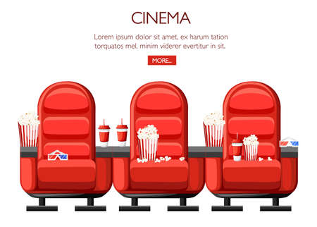 Cinema concept area and three red comfortable arm chairs in the cinema.