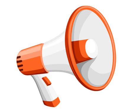 Orange and white megaphone on white background. Illustration