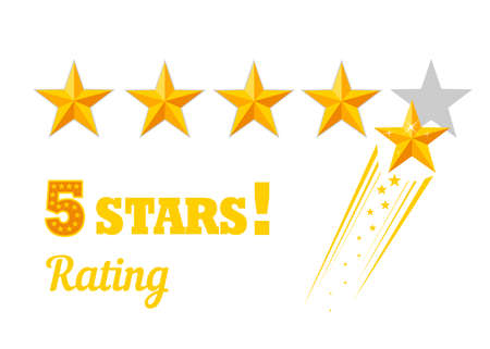 Golden five star rating icon on white background. 向量圖像