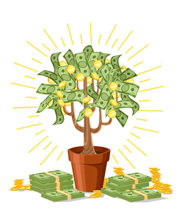 Money tree, green cash banknotes with golden coins. Tree in a ceramic pot vector illustration isolated on white background. Web site page and mobile app design.