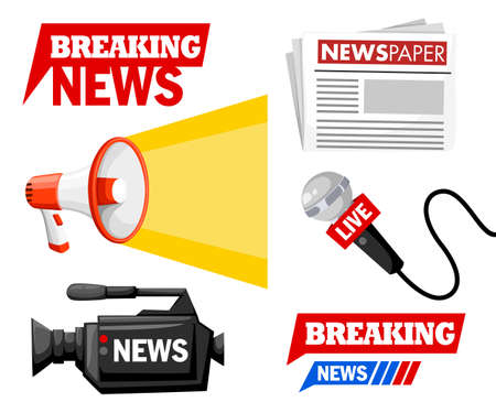 Journalist tools collection Breaking news concept.
