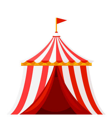 Red circus tent with flag Amusement park concept.
