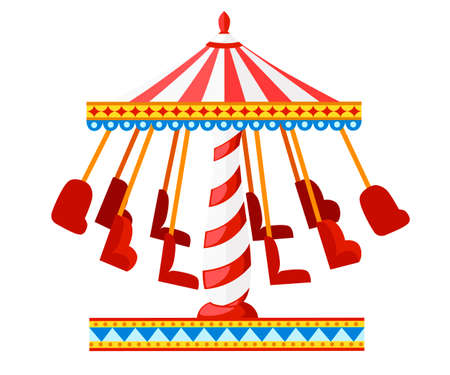 Colorful carousel with chairs. Amusement park concept. Vector illustration isolated on white background. Website page and mobile app design.