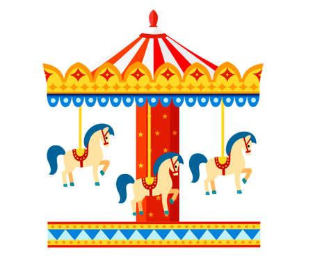 Colorful carousel with horses Amusement park concept.