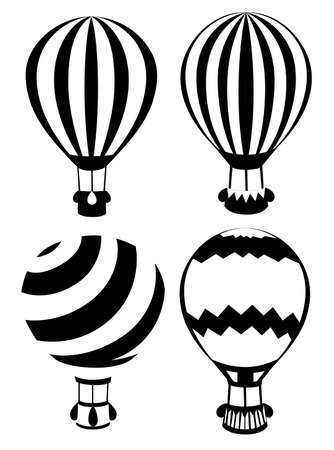 Set of black and white hot air balloons. Four ballons with diffirent pattern. Vector illustration isolated on white background. Website page and mobile app design. Illustration
