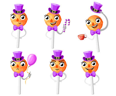 Set of orange lollipops. Cartoon style character design. Lollipop with hat and bow tie. Vector illustration isolated on white background. Web site page and mobile app design.
