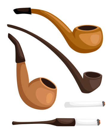 Collection of smoking pipes. Retro tobacco pipes with cigarette holder. Vector illustration, isolated on white background. Website page and mobile app design. Ilustração