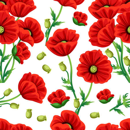Pattern of Red Poppy flower with green leaves.